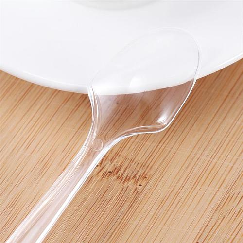 100PCS Mini Transparent Plastic Spoons Disposable Flatware Spoons For Jelly Ice Cream Dessert Appetizer