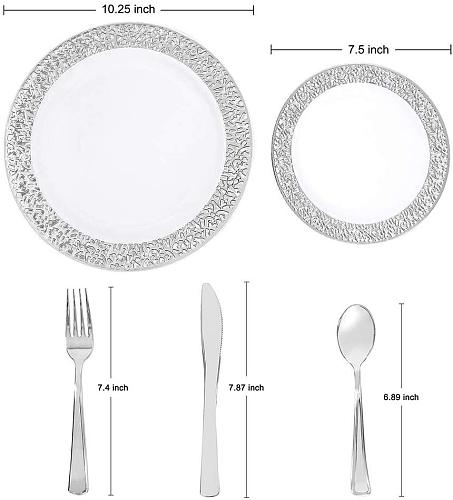 125pcs Silver Plastic Plates with Disposable Silverware, Elegant Lace Dinnerware Set for Weddings, Parties, for 25 Guests