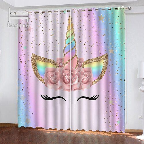 IBedding Rainbow Unicorn Flower Spot Living Room Curtain Waterproof  Curtain POD Polyester Decor