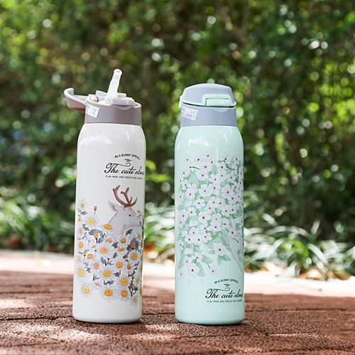 Stainless steel straw thermos cup, travel water bottle, baby thermos cup.