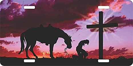 Metal Tin Sign Wall Panel Christian Cowboy Praying Cross Horse Sunset Rodeo License Plate Car Truck Tag Wall Decoration 6x12