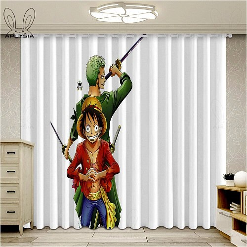 Anime Luffy Window Blackout Curtains For Bedroom Cartoon Kids One Piece Living Room Ultra-thin Micro Shading Cortinas