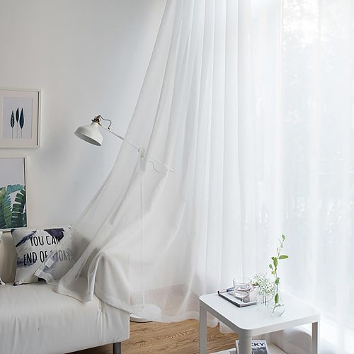 Pure Color Tulle Curtains For The Kitchen Living Room Solid Sheer Curtains Tulle On The Windows Drapes Window Screen 132x210cm