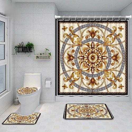 2021 4pcs Bathroom Shower Curtain Hollow Shape Print Waterproof Bath Curtain Set Toilet Cover Mat Non-Slip Bathroom Rug Set