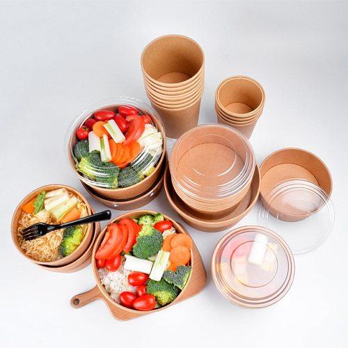 20pcs 50pcs Disposable Kraft Paper Bowl With Paper Lid Fruit Salad Bowl Lids Food Packaging Containers Party Favors (16oz 26oz