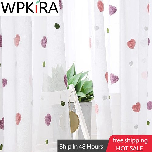 Sweet Pink Heart Voile Curtain For Kids Girls Bedroom Cartoon Embroidered Curtain Tulle For Living room Window Panel Rideau M057