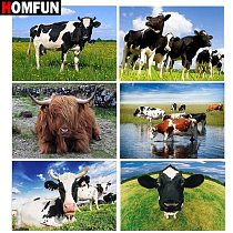 HOMFUN Diamond painting  Animal cow landscape  Full Square/Round Drill Wall Decor Inlaid Resin Embroidery Craft Cross stitch