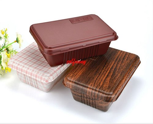 300pcs/lot Creative Wood Grain Design Disposable Food Container Snack Packing Boxes Microwaveable PP Bento Box F051406