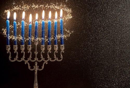 Photo Background Happy Hanukkah Festivals Candle Menorah Dark Polka Dot Light Bokeh Party Photo Backdrop Photocall Photostudio
