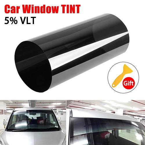 20cm*150cm Dark Black Car Window Tint Film Glass Roll Summer Car Auto House Windows Glass Tinting Solar Protection Sticker Films