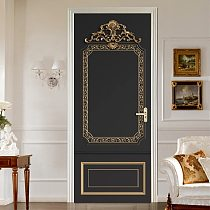 European Style 3D Relief Golden Door Sticker Wall Mural Wallpaper PVC Living Room Bedroom Door Decoration Self-Adhesive Stickers