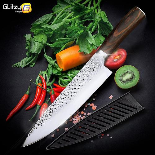 Kitchen Knife Set Chef 1- 6Pcs Japanese 7CR17 440C High Carbon Stainless Steel Santoku Utility Slicer Meat Cleaver Cooking Tools