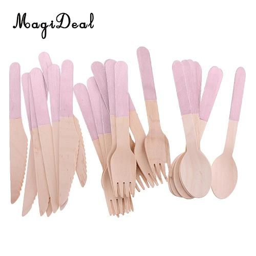 24 Pieces Disposable Wooden Utensil Fork Spoon Knife Tableware Set Pink