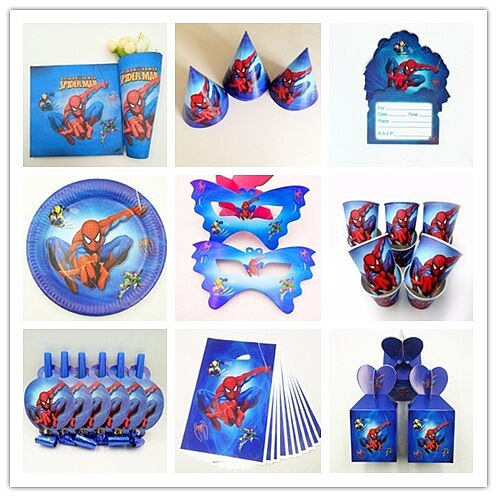 Superhero Baby Birthday Party Kids Boy Vengeance Spiderman Disposable Tableware Party Supplies Decoration Mask Set
