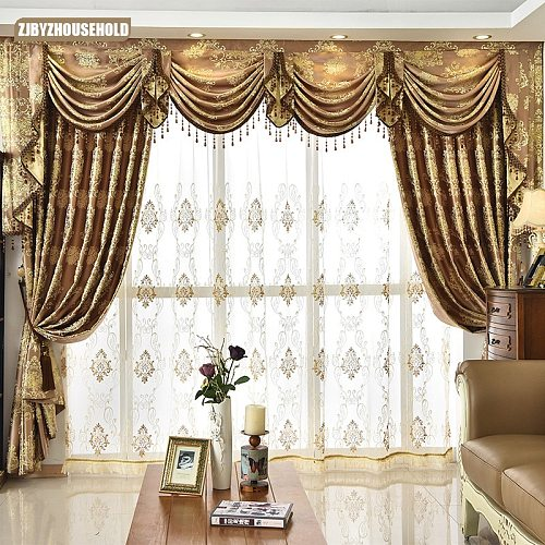 2021 New Curtains for Living Room Dining Room High-grade Contracted European Valance Golden Door Curtains  Bedroom Window Luxury