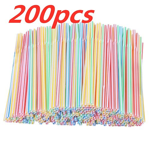 200pcs Multicolor Straws Plastic Long Flexible Drinking Straws for Party Weddings Drinking Bar Juice Striped Drinking Straw D20
