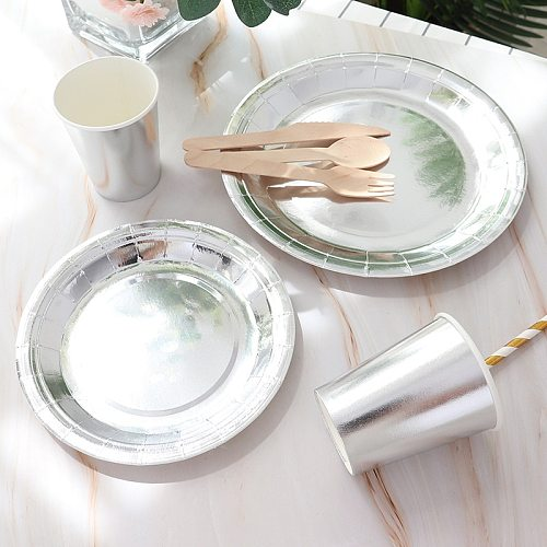 Silver tableware disposable tableware set banquet table decoration paper cup dinner plate straw wedding birthday party supplies