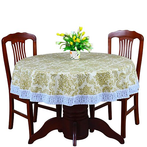 Pastoral PVC Round Tablecloth Waterproof Oilproof Plastic Table Covers Floral Printed Lace Edge Anti Hot Coffee Table Cloths