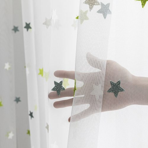 Tiyana Embroidery Green Star Window Drapes Tulle for Living Room Cartoon Curtains For Kids Bedroom Balcony Nursery Decor M65Y