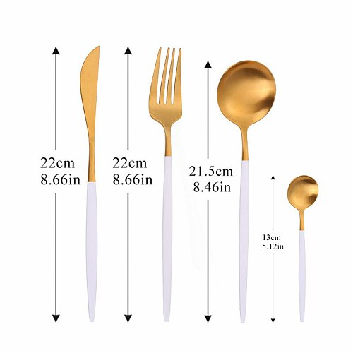Stainless Steel Cutlery Set Kitchen Tableware Spoon Fork Knife Set Dinnerware Kitchen Dinner Set Matte 16pcs White Gold Flatware