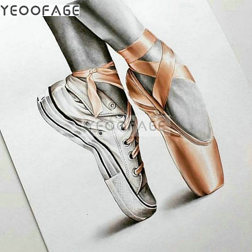 5D DIY Diamond Painting Mosaic ballet shoes Picture Of Rhinestone Cross Stitch Home Decor Full Square Diamond Embroidery pattern