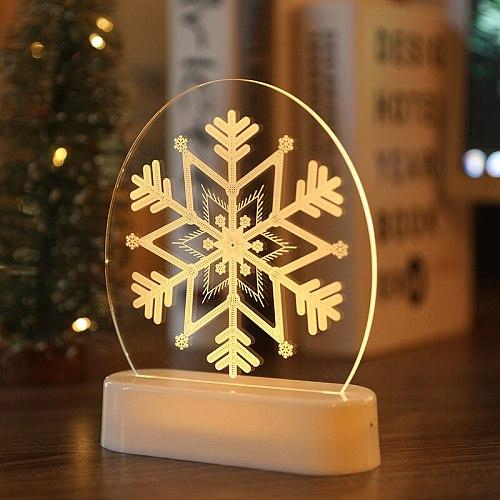 3D Christmas Lights LED Room Decoration Snowman Bell Acrylic Ornament Night Light Golden Lampstands Decor romantic lighting