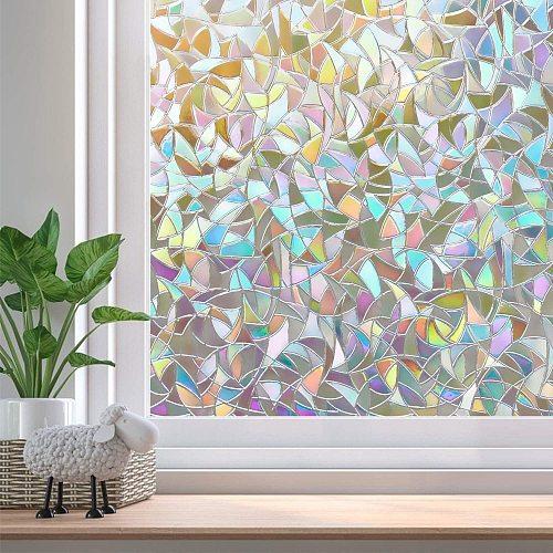 LUCKYYJ 3D Privacy Decorative Glass Sticker Rainbow Effect Sticker Adhesive Vinyl Film on Removable Windows