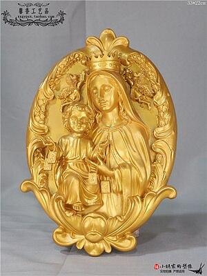 Holy clothes holy plate pendant Madonna holding Jesus baby exorcism blessed family statue Jesus Christ Catholic holy object