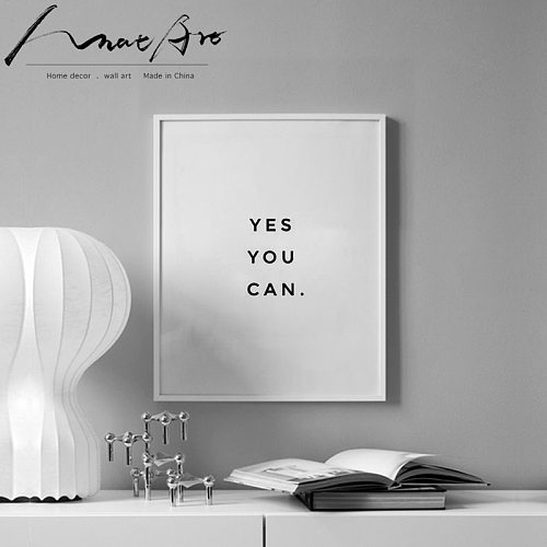 yes you can Motivational phrase Minimalism poster  canvas wall art picture posters and prints nordic decoration home