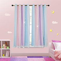 Fashion Curtain With Tulle Decorative Star Curtains/Draperies Living Room Bedroom Kids Room Curtain/Drapery For Girls Room