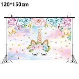1pcs 132*220cm Flower Unicorn disposable Birthday tablecloth for kids Unicorn birthday party plastic table cover decoration