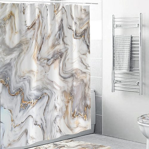 2021 Modern Art Marble Shower Curtain Bathroom Toilet Decoration Thickened Waterproof and Mildew Proof Shower Curtain