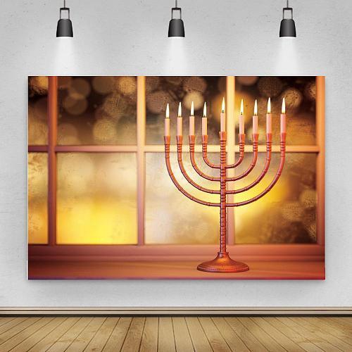 Hashanah Photography Backdrop Happy Holiday Party Hanukkah Dreidel Photo Background Menorah Prop Decoration Chanukah Banner
