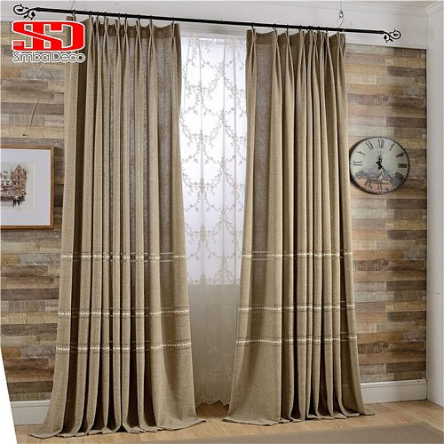 Modern Linen Curtains for Living Room Hollow Drapes for Bedroom Window Treatments Natural Rope Knot Decoration Blinds Panel