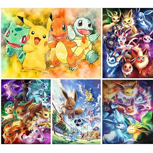 5D DIY Cartoon Pokemon Diamond Painting Animal Full Round/Square Diamond Embroidery Mosaic Pictures Cross Stitch Home Decor Gift