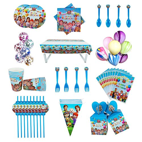 Cocomelon Party Supplies Paper Cups Plates Banner Straw Box Balloons Kids Birthday Baby Shower Decoration Disposable Tableware