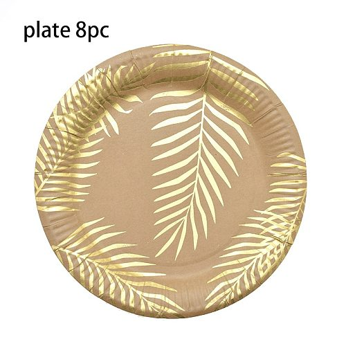 Gold foil Tropical Palm Leaf Paper Plates disposable tableware Paper towel cup plate set Wedding birthday Holiday party decor