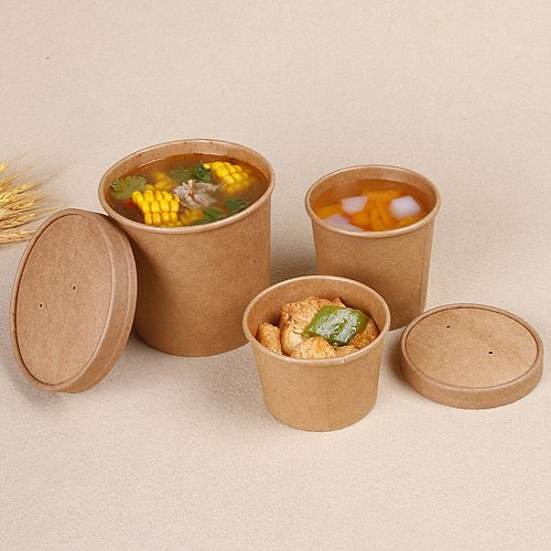 50Pcs 8 Ounce Kraft Paper Soup Cup Disposable Meal Prep Containers Food Packaging Takeout Bowl without Lids