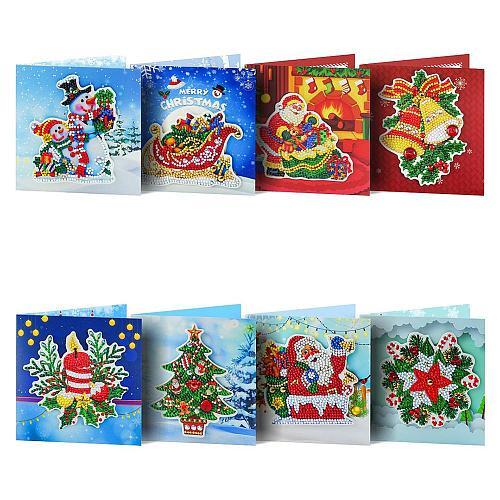 8Pcs 5D DIY Diamond Painting Greeting Card Santa Claus Christmas Postcards Diamond Embroidery Christmas Cards Birthday Xmas Gift