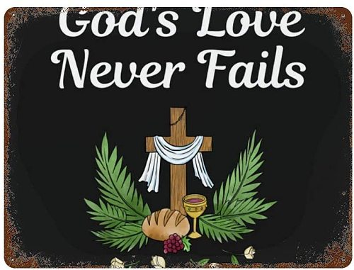 Gods Love Never Fails Flowers Wood Cross Christian Christ God Metal Wall Sign Tin Warning Hanging Signs Vintage Plaque Art Poste