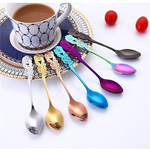 Small Mini Stainless Steel Flower Coffee Spoon Strring Spoon Teaspoon Tea Spoon Dessert Spoon Long Handle Tableware colorful j25