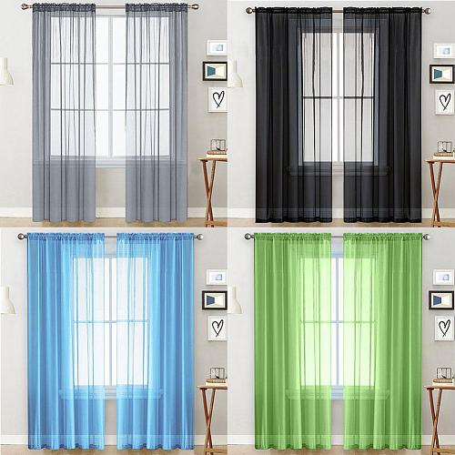 1Pc Solid Color Rod Install Style Sheer Tulle Window Curtain Drape Hotel Home Living Room Balcony Patio Decoration