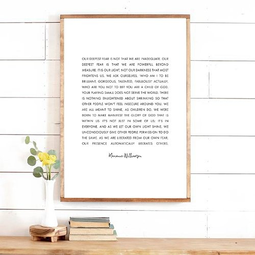 Marianne Williamson Quote Print Wall Art Picture Canvas Painting Monochrome Minimalist Inspirational Christian Poster Home Decor