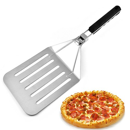 Foldable 58cm Aluminum Pizza Peel Shovel with Wood Handle Silver Cheese Cutter Cake Shovel Square Pizza Peel Bakeware Cookware