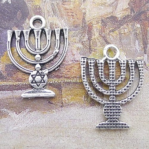 10pcs/Lot 18x24mm Holy Land Menorah Hexagram Charms Antique Silver Color Pendants for DIY Jewelry Making