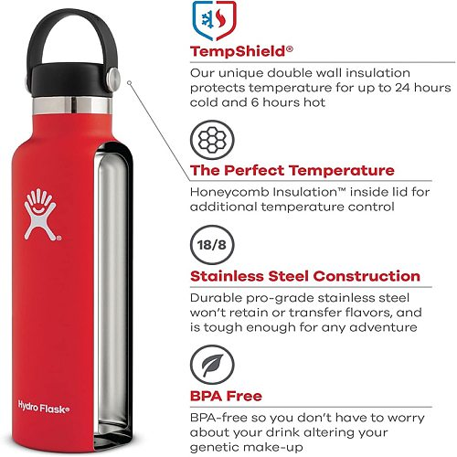 Hydro Water Bottle Flask Stainless Steel Vacuum Insulated Bottle for woman Wide Mouth With Lifting Handle Free Shipping 32oz