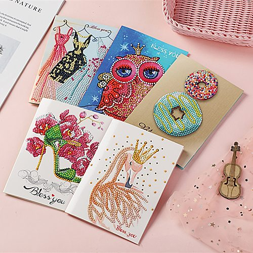 5d Diamond Painting Valentine Greeting Card Party Cards Embroidery Birthday Paper DIY Greeting Postcards Cartoon Kids Gift