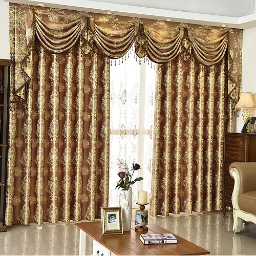 Bedroom Window Curtains for Living Dining Room High-grade Europe Type Shade valance Custom Wave Golden Customization