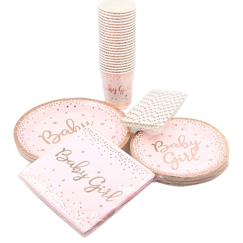 Serve 20 Baby Shower Rose Gold Pink Disposable Foil Paper Plate Napkins Cups Girl Birthday Tableware Party Set Supplies