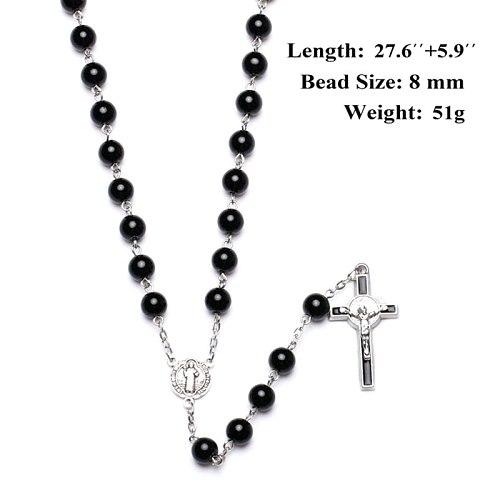 Black Glass Cross Religious Necklace Catholic Rosary Necklace Church Souvenirs U2JC